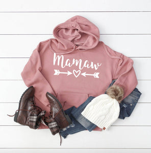 Mamaw Hooded Pullover Sweatshirt - Custom Jackets - Mamaw Christmas Gift - Mamaw Hoodie - Cute Women's Sweaters