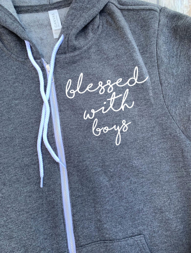 Blessed With Boys Unisex Zip Up Hoodie - Mom Hoodie - Blessed Mom - Fleece Hoodie - Mom To Boys - Mom With Sons - Christmas Gift Mom