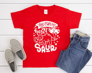 Children's Valentines Day Shirt - You Make My Heart Saur - Kids Valentines Day Shirts - Dinosaur Shirt - Kids Dino T-shirt