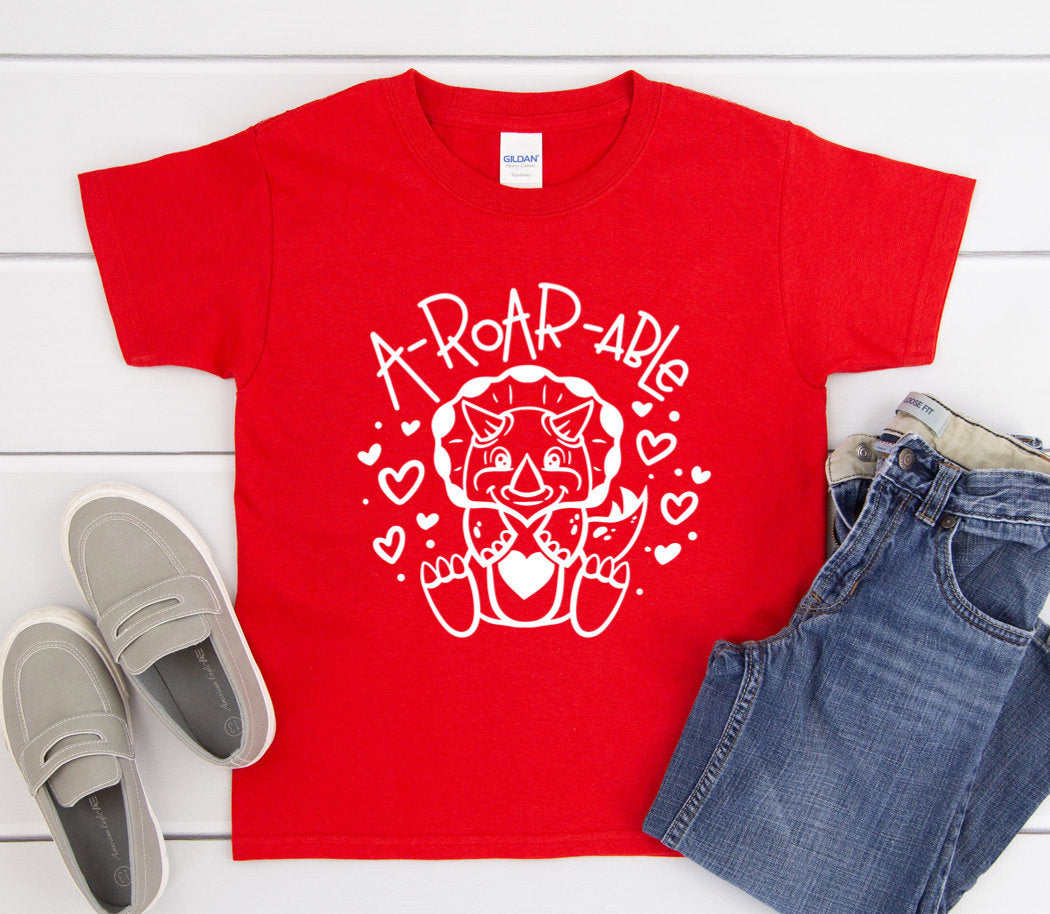 Children's Valentines Day Shirt - A-Roar-Able - Kids Valentines Day Shirts - Dinosaur Shirt - Kids Dino T-shirt - Toddler Valentines Day Tee