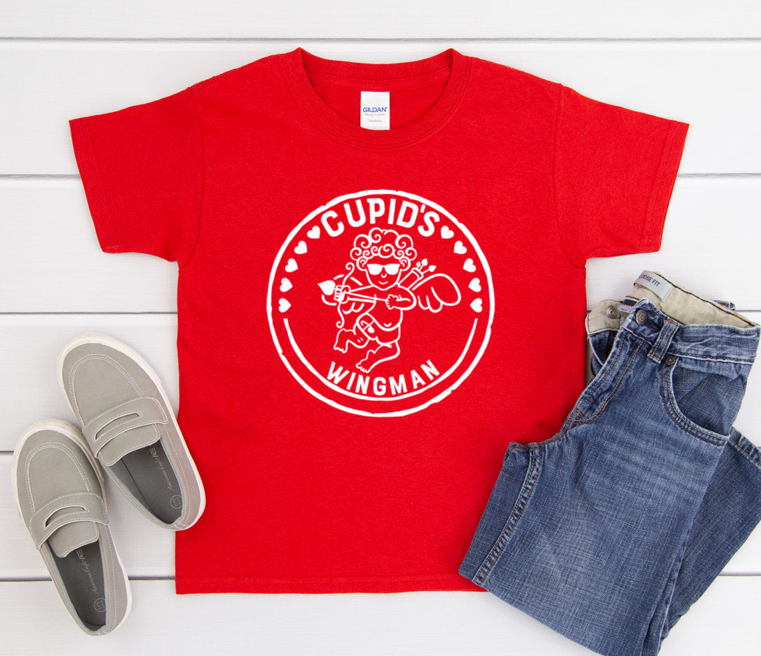 Boys Valentines Day Shirt - Cupid's Wingman - Boys Valentines Day Shirts - Cupid Shirt - Heart Breaker Shirt