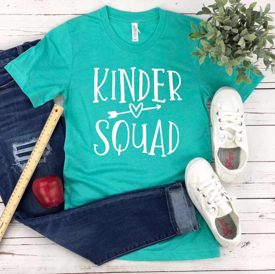 Kinder Squad Unisex T-Shirt - Teacher T-shirt - Grade Level Teacher Tee - Gift for Teacher - Kindergarten Shirt -  Kinder Crew Team Squad