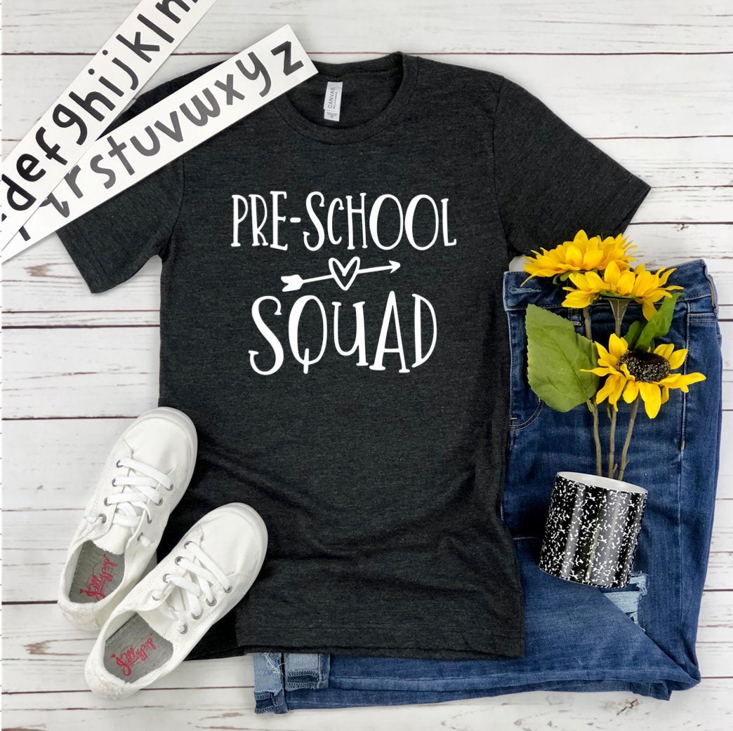 Pre School Squad Unisex T-Shirt - Teacher T-shirt - Grade Level Teacher Tee - Gift for Teacher - Pre K Grade Shirt -  Pre School Crew Team