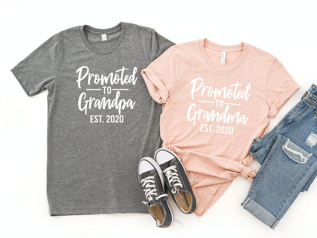 Promoted To Grandpa & Grandpa T-shirt Set