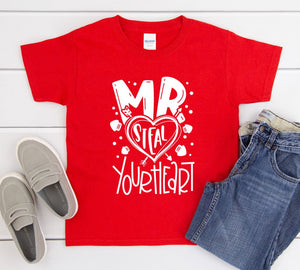 Boys Valentines Day Shirt - Mr. Steal Your Heart - Boys Valentines Day Shirts - Love Shirt - Ladies Man Shirt
