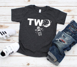 Two Space Shirt - Outer Space Birthday T-shirt - Custom Space Shirt - 2nd Birthday Tee - Astronaut Party Shirt - Two Year Birthday Party
