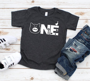 One Farm Shirt - Farm Birthday T-shirt - Birthday Party Shirt - First Birthday Tee - Farm Party Shirt - One Year Birthday Party Shirt