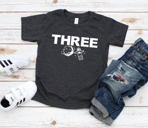 Three Space Shirt - Outer Space Birthday Tshirt - Custom Space Shirt - 3rd Birthday Tee - Astronaut Party Shirt - Three Year Birthday Party
