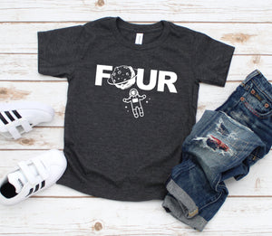 Four Space Shirt - Outer Space Birthday Tshirt - Custom Space Shirt - 4th Birthday Tee - Astronaut Party Shirt - Four Year Birthday Party