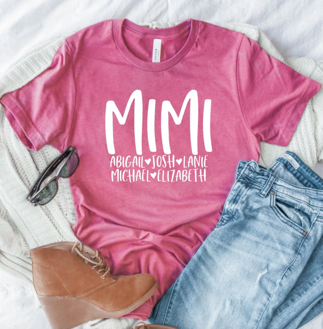 Personalized Mimi T-shirt With Grandkids Names - Mimi Shirt - Gift For Mimi - Mother's Day Gift Idea - Mimi T-shirt