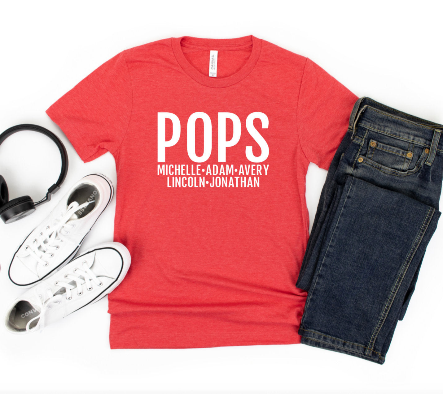 Personalized Pops T-shirt With Grandkids Names - Pops Shirt - Gift For Pops - Father's Day Gift Idea - Pops T-shirt
