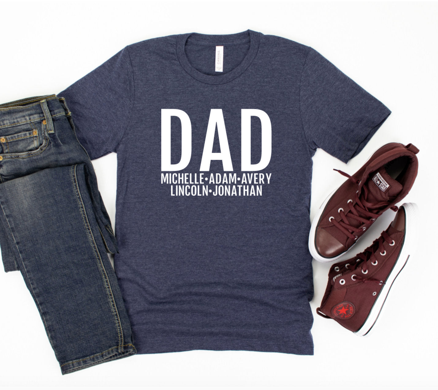 Personalized Dad T-shirt With Kids Names - Dad Shirt - Gift For Dad - Father's Day Gift Idea - Dad T-shirt