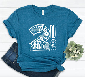 2nd Grade Teacher T-shirt - Second Grade Teacher Shirt - Grade Level Shirts - Teacher T Shirts - Second Grade Squad Crew Tribe