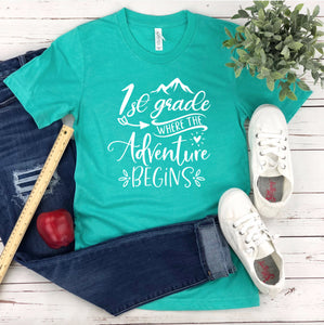 1st Grade Where The Adventure Begins Shirt - 1st Grade Teacher T-shirt - First Grade Teacher Shirt - Grade Level Shirts - Teacher T Shirts
