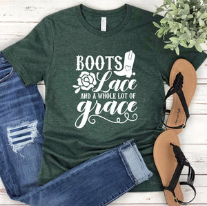Grace Unisex T-Shirt - Women's Shirts - Country Girl T-shirt - Southern Shirt - Boots Lace and A Lot of Grace
