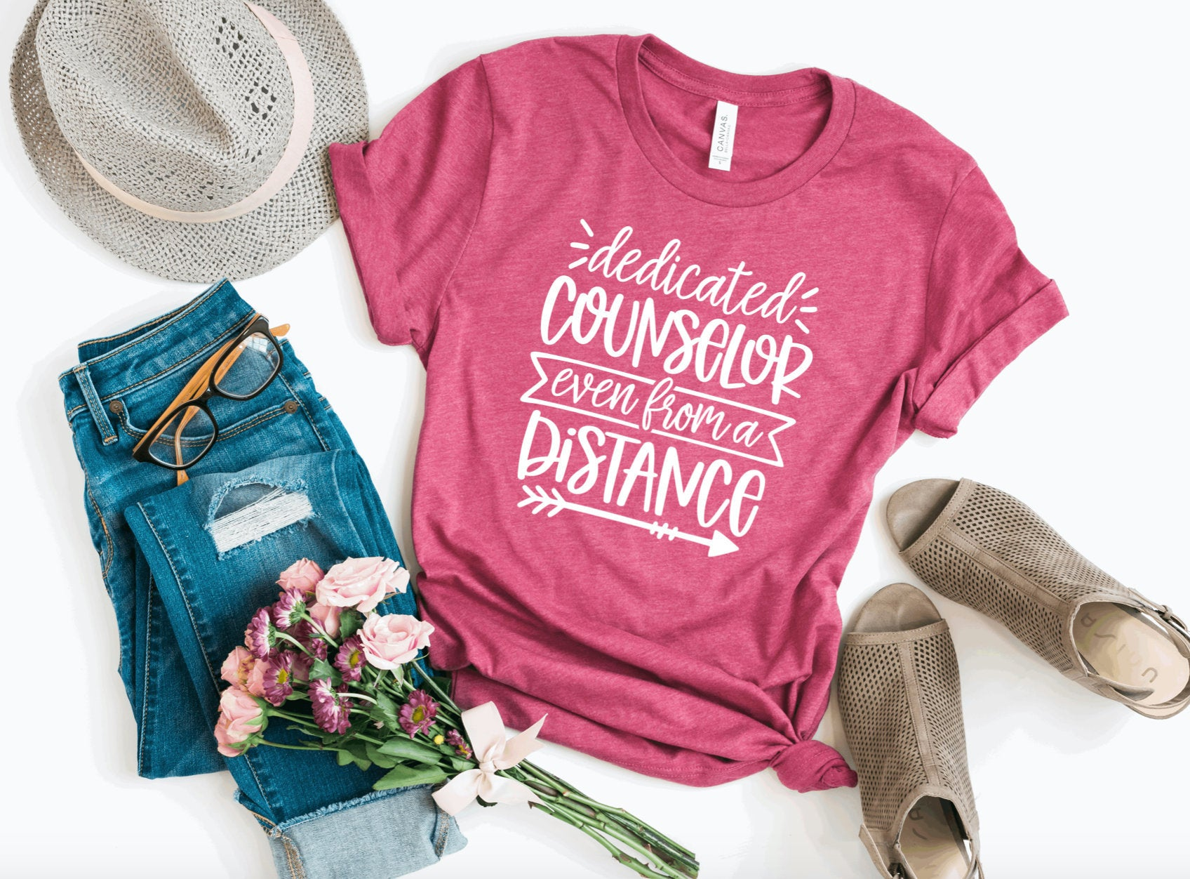 Dedicated Counselor Even From A Distance T-Shirt - Counselor T-shirt - Counselor Tees - Online Learning Shirt - Back To School Shirt