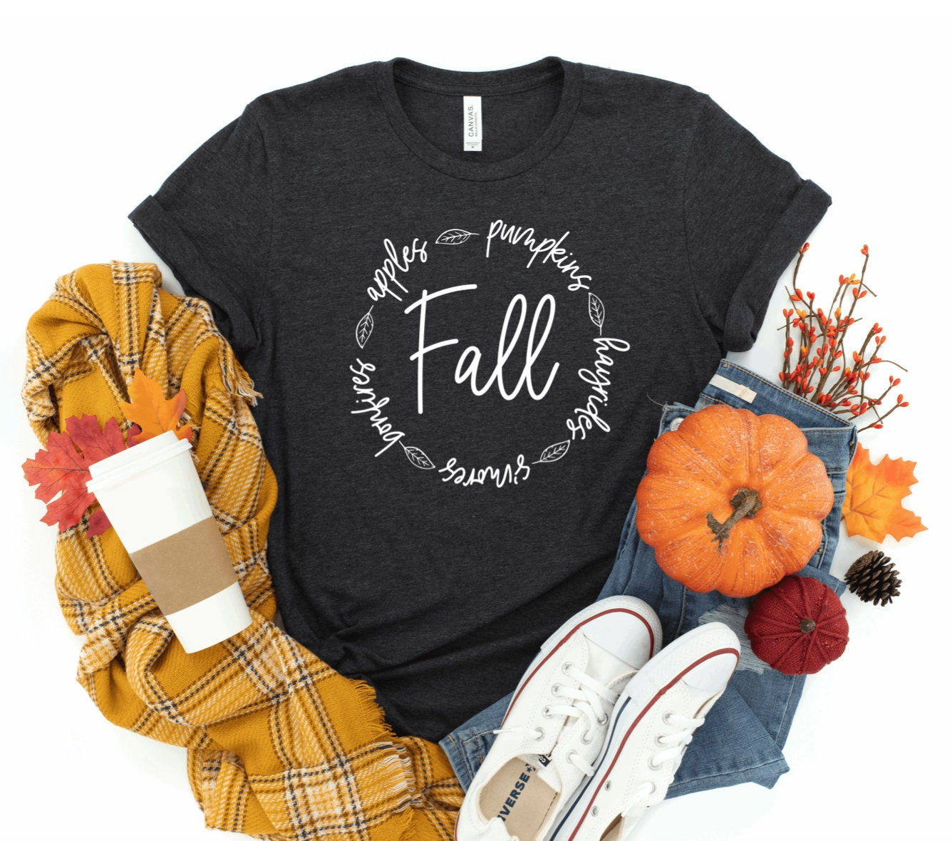 Fall Unisex T-shirt - Fall T-shirt - Autumn Shirt - Pumpkin Shirt - Fall Apples Pumpkins Hayrides Smores Bonfires Shirt