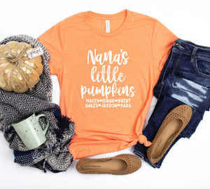 Personalized Fall Shirt For Nana With Grandkids Names - Nana's Little Pumpkins - Nana Halloween Shirt - Gift For Nana