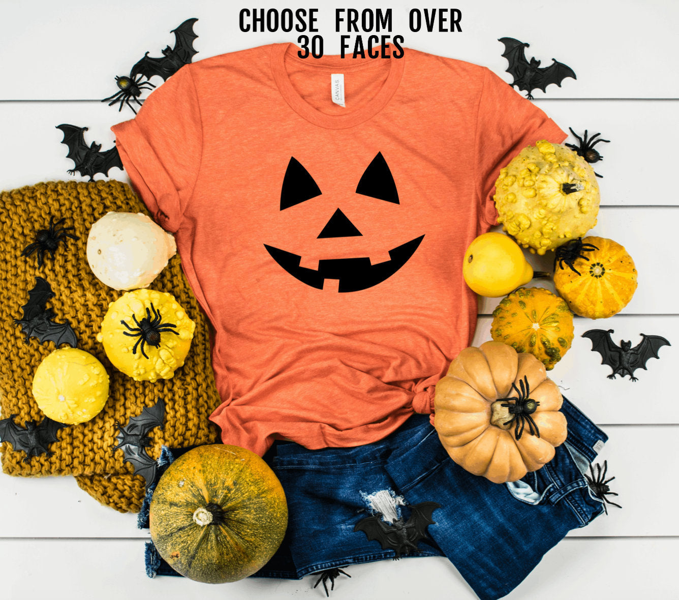 Unisex Halloween Face Shirt - Pumpkin Face Shirt - Jack O Lantern Shirt - Adult Halloween T-shirt - Pumpkin Shirt - Halloween Party Shirt