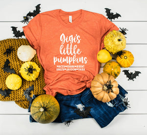 Personalized Fall Shirt For Gigi With Grandkids Names - Gigi's Little Pumpkins - Gigi Halloween Shirt - Gift For Gigi
