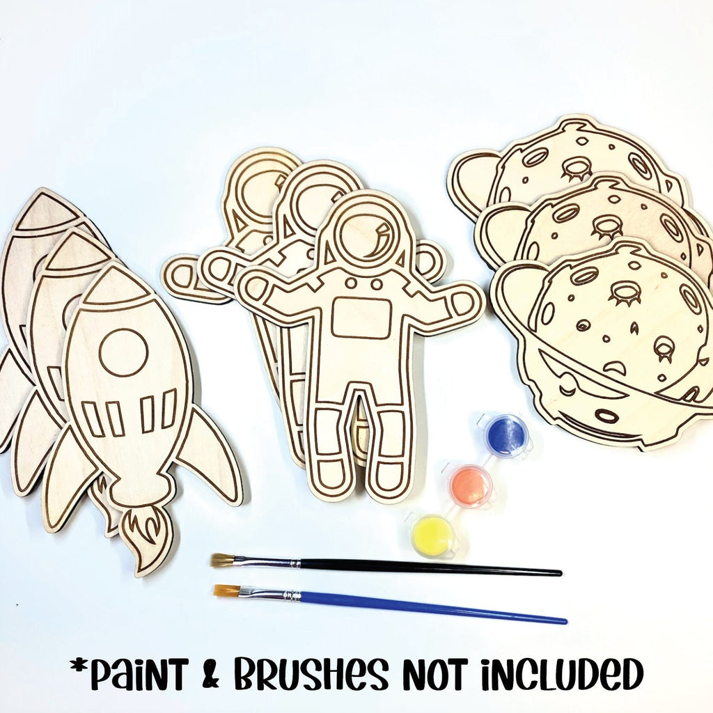 Space Theme Birthday Party DIY Paint Wood Cut Out Set of 9 - Space Party Activity  - Space Birthday Party Favors - Outer Space Party