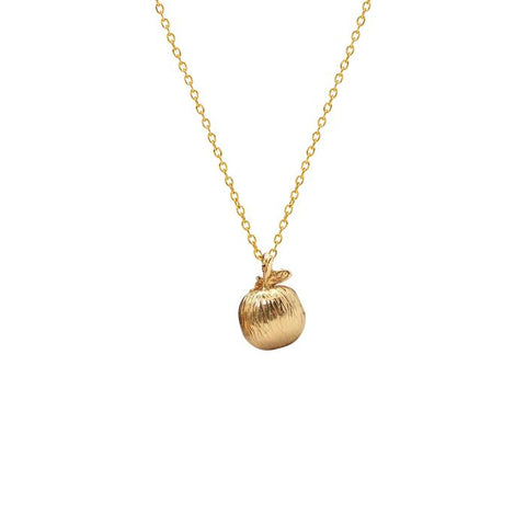Apple Charm Necklace - Gold Plated