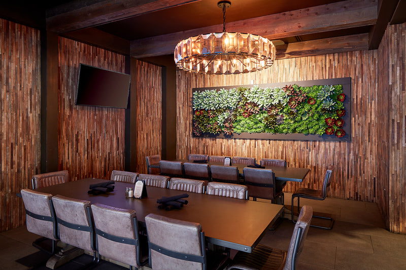 Restaurant Decor with Wood Wall