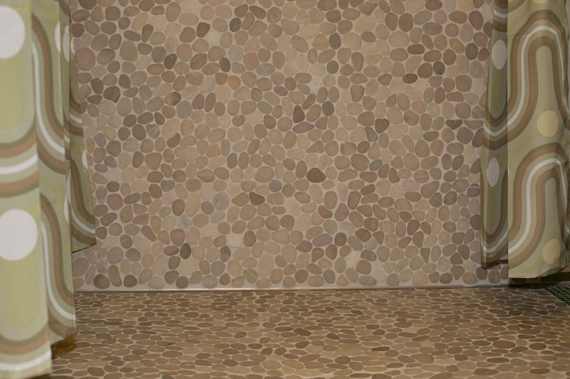 Floor and Wall using same pebble | Decor inspiration