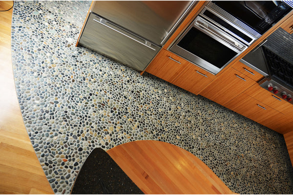 Pebbles flooring in the kitchen