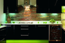 Kitchen with Black Cabinets and Nice Blacksplash Copper Quartzitic Color Strip Cladding