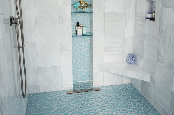Shower Floor and Wall with Blue Mosaic