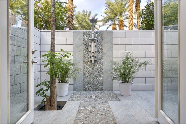 Outside Shower Pebble Accent Wall and Flooring