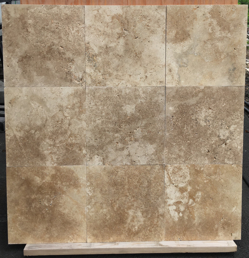 LIGHT WALNUT Travertine brushed/unfilled - Tile Series