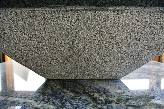 DARK GREY RAKED Granite polished interior/top & raked exterior (16.92in x 16.92in x 5.90in) - Sink