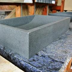 DARK GREY RECTANGULAR Granite honed interior & exterior (23.62in x 15.74in x 4.72in high) - Sink