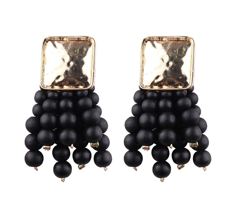 Black Magic Handmade Beads Earrings