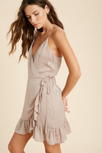 Almond Cream Wrap Dress