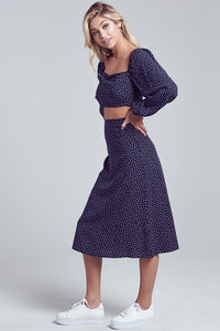 Hacienda Blue Polka Dot Crop Top and Midi Skirt Set