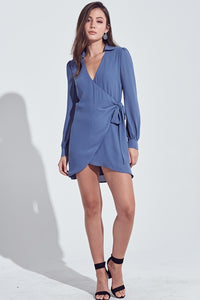 Vintage Blue Wrap Long Sleeve Dress