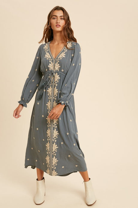 Chance Of Rain Embroidered Maxi Dress