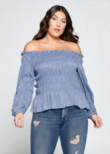 Off Shoulder Long Sleeve Plus Size Top
