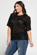 Black Sequins Plus Size Top