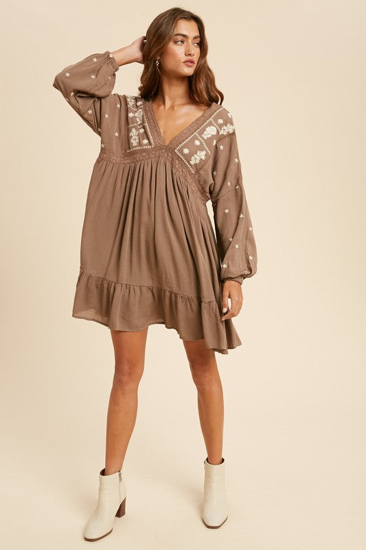 Nut Brown Long Sleeve Mini Dress