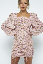 Puff Sleeve Ruched Tie Dress