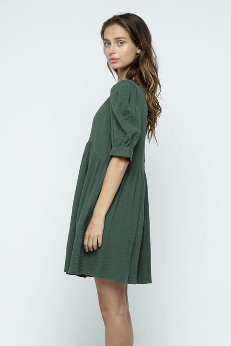 Holiday Green Baby Doll Dress
