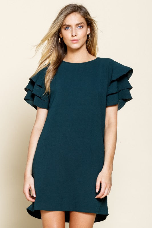 Hunter Green Ruffle Sleeve Woven Dress