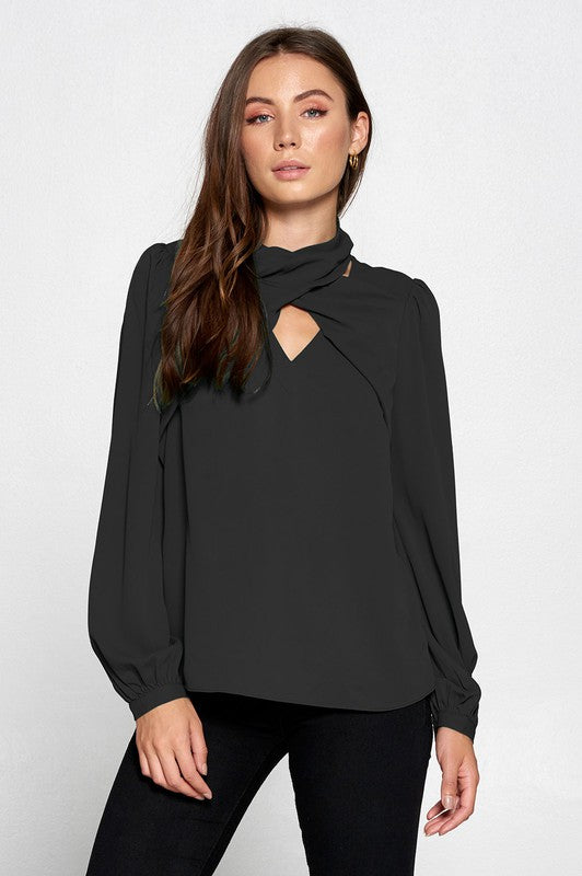 Wrap Neck Black Blouse