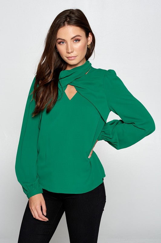 Wrap Neck Green Blouse