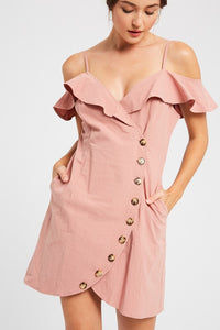 Blush Wrap Button Dress