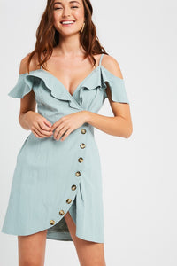 Sage Wrap Button Dress